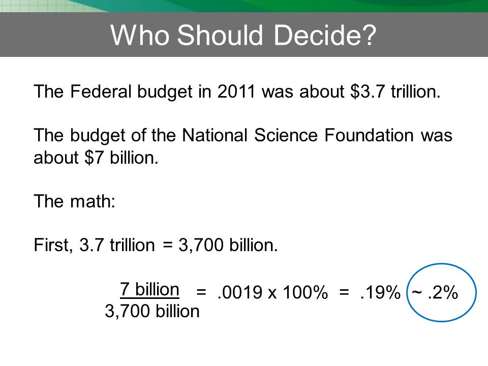 Who Should Decide.The Federal budget in 2011 was about $3.7 trillion.