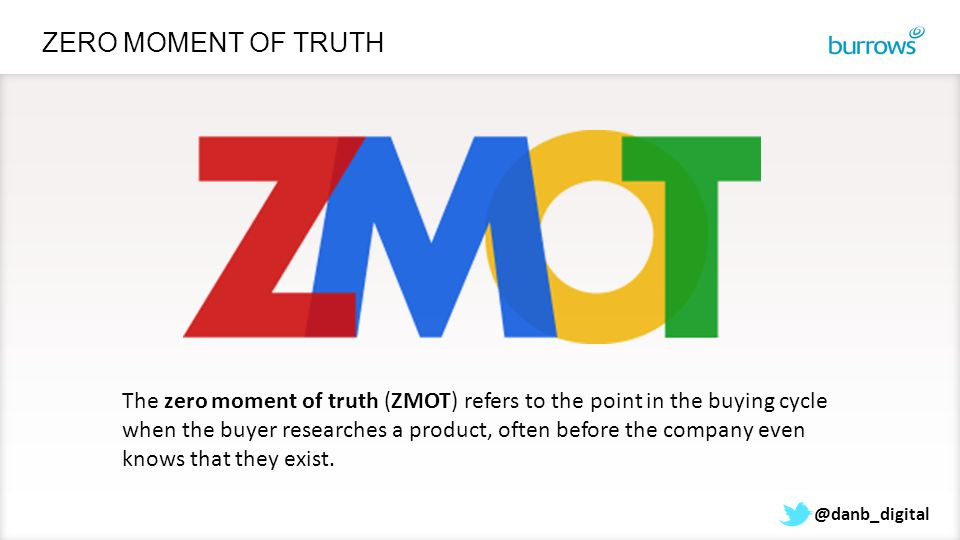 ZERO MOMENT OF TRUTH The zero moment of truth (ZMOT) refers to the point in the buying cycle when the buyer researches a product, often before the com
