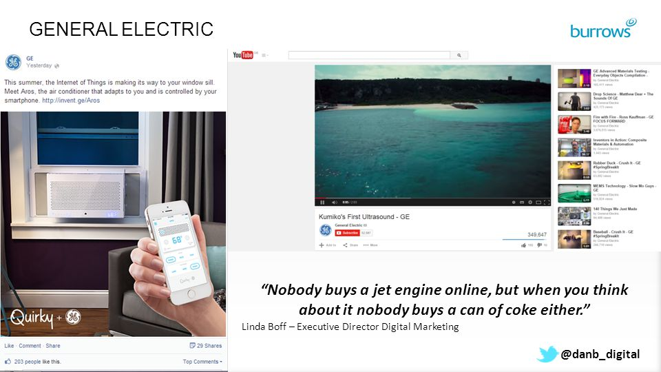 @danb_digital GENERAL ELECTRIC Nobody buys a jet engine online, but when you think about it nobody buys a can of coke either. Linda Boff – Executive Director Digital Marketing