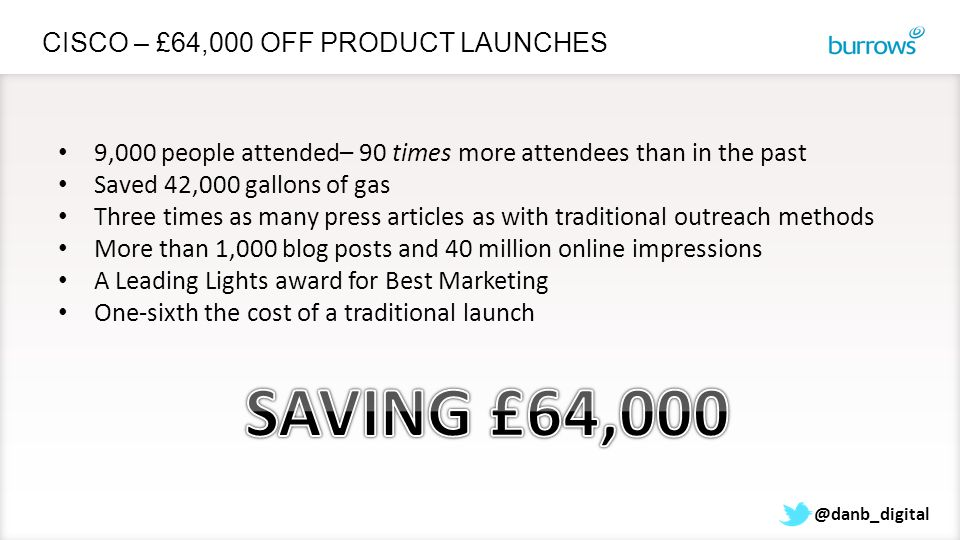 @danb_digital CISCO – £64,000 OFF PRODUCT LAUNCHES 9,000 people attended– 90 times more attendees than in the past Saved 42,000 gallons of gas Three t