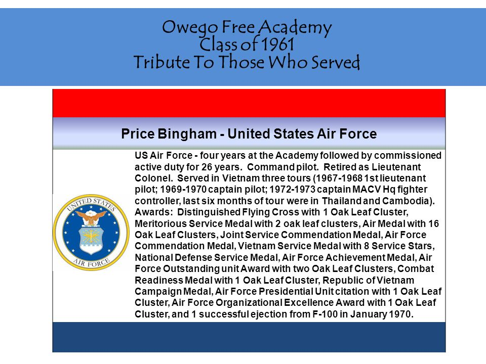 Owego Free Academy Class of 1961 Tribute To Those Who Served Steve Brown - United States Marine Corps Reserve U.
