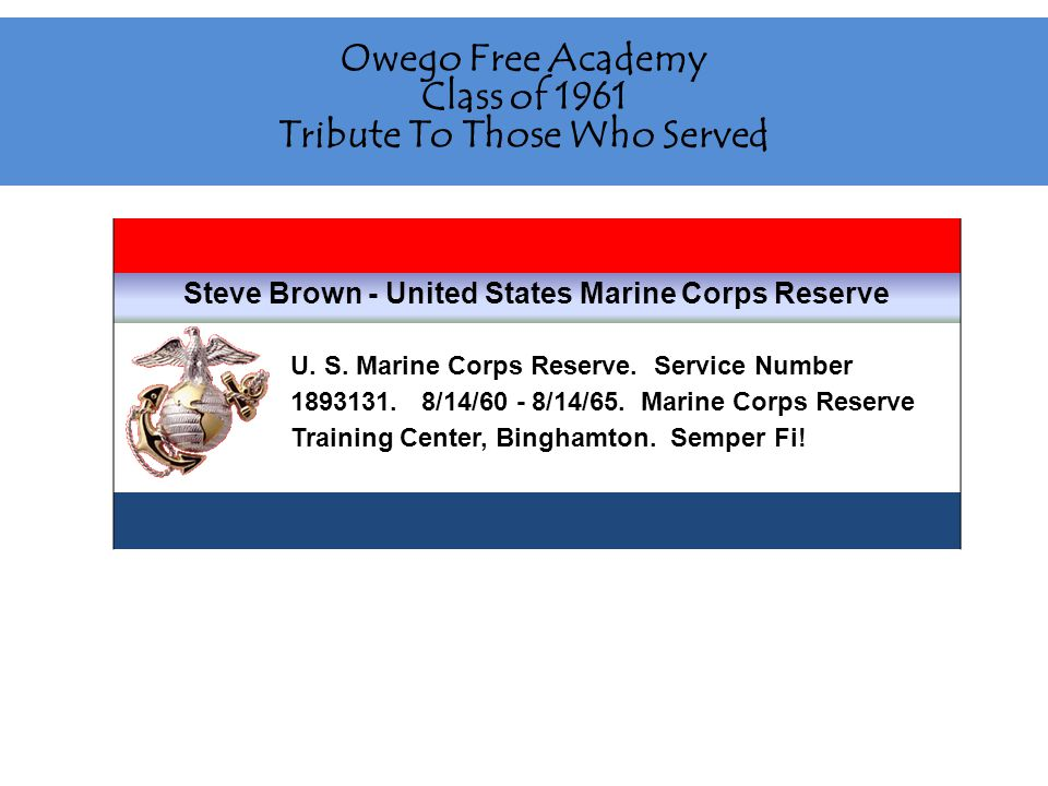 Owego Free Academy Class of 1961 Tribute To Those Who Served Alan Smith - United States Army Served in the United States Army