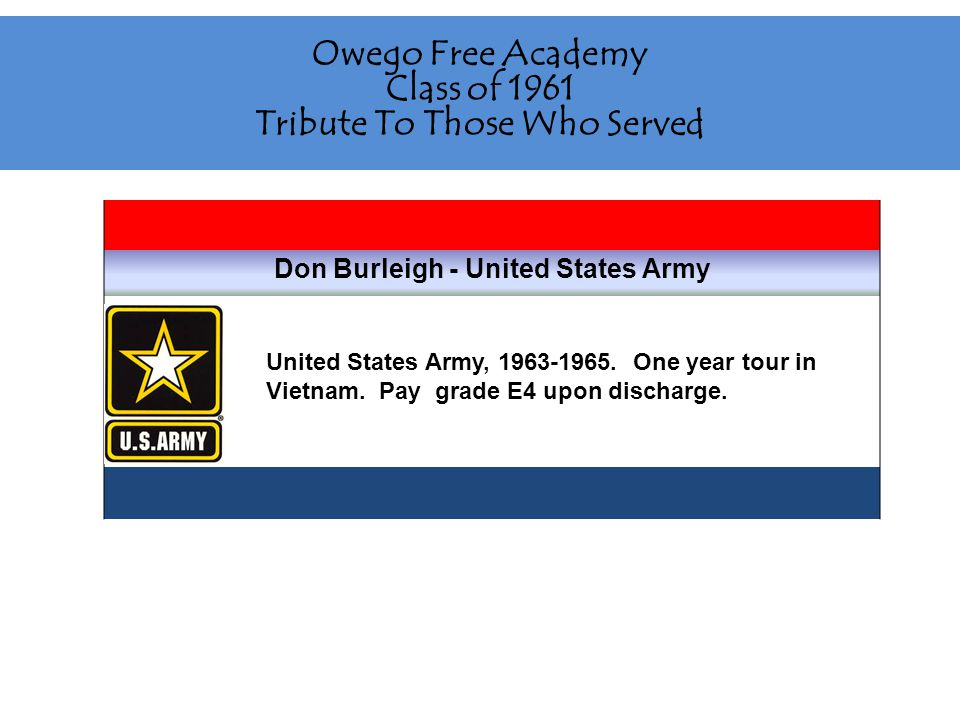 Owego Free Academy Class of 1961 Tribute To Those Who Served Don Burleigh - United States Army United States Army, 1963-1965.
