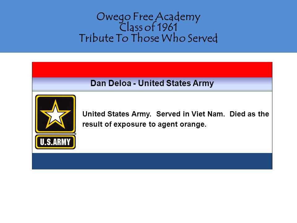 Owego Free Academy Class of 1961 Tribute To Those Who Served Jonathan Englehardt - United States Army Jonathan was still in the service when his brother, Edward, died as a result of walking in front of an airplane.