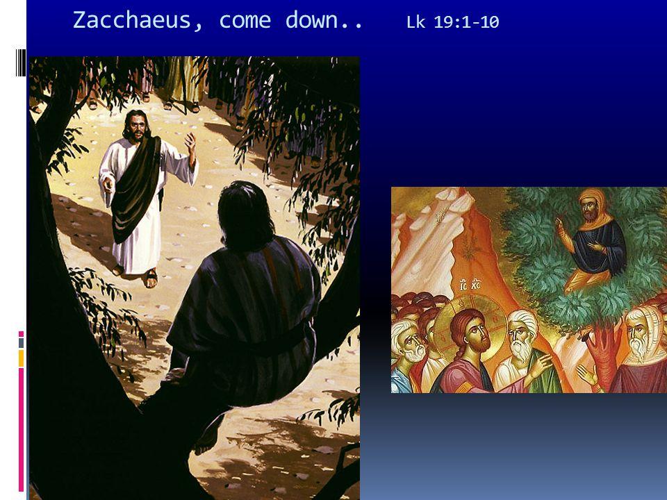 Zacchaeus, come down.. Lk 19:1-10
