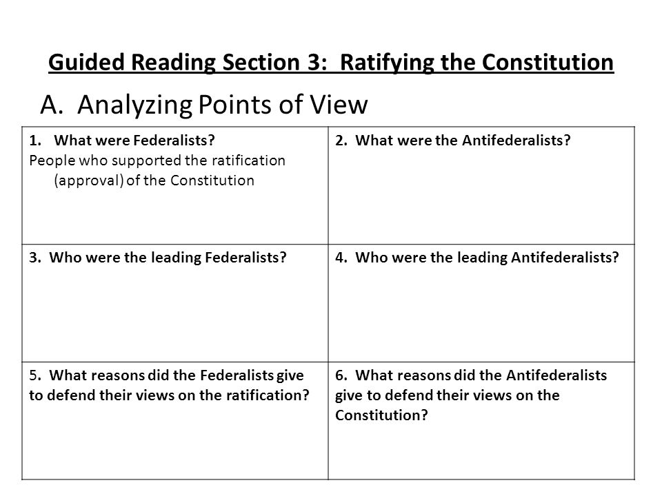 Guided Reading Section 3: Ratifying the Constitution A.Analyzing Points of View 1.What were Federalists? People who supported the ratification (approv