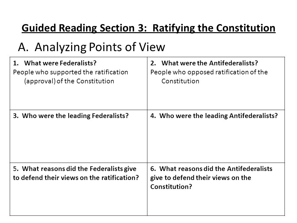 Worksheets Ratifying The Constitution Worksheet wednesday dec update your table of contents datetitleentry 12 guided reading section 3 ratifying the constitution a analyzing points view 1