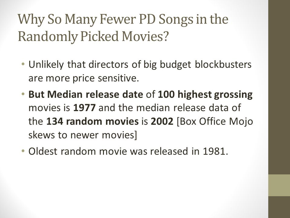 Why So Many Fewer PD Songs in the Randomly Picked Movies? Unlikely that directors of big budget blockbusters are more price sensitive. But Median rele