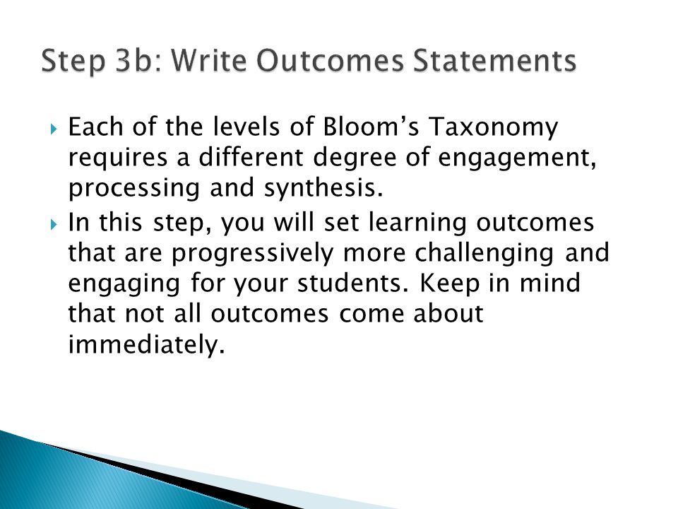  Each of the levels of Bloom's Taxonomy requires a different degree of engagement, processing and synthesis.