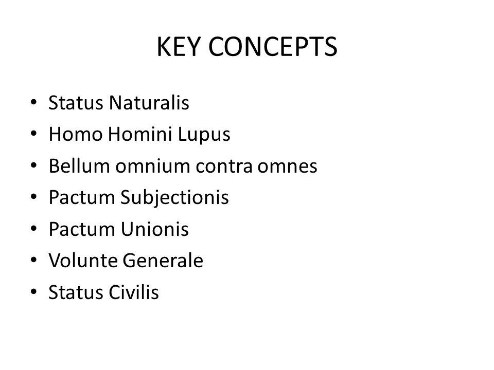 KEY CONCEPTS Status Naturalis Homo Homini Lupus Bellum omnium contra omnes Pactum Subjectionis Pactum Unionis Volunte Generale Status Civilis