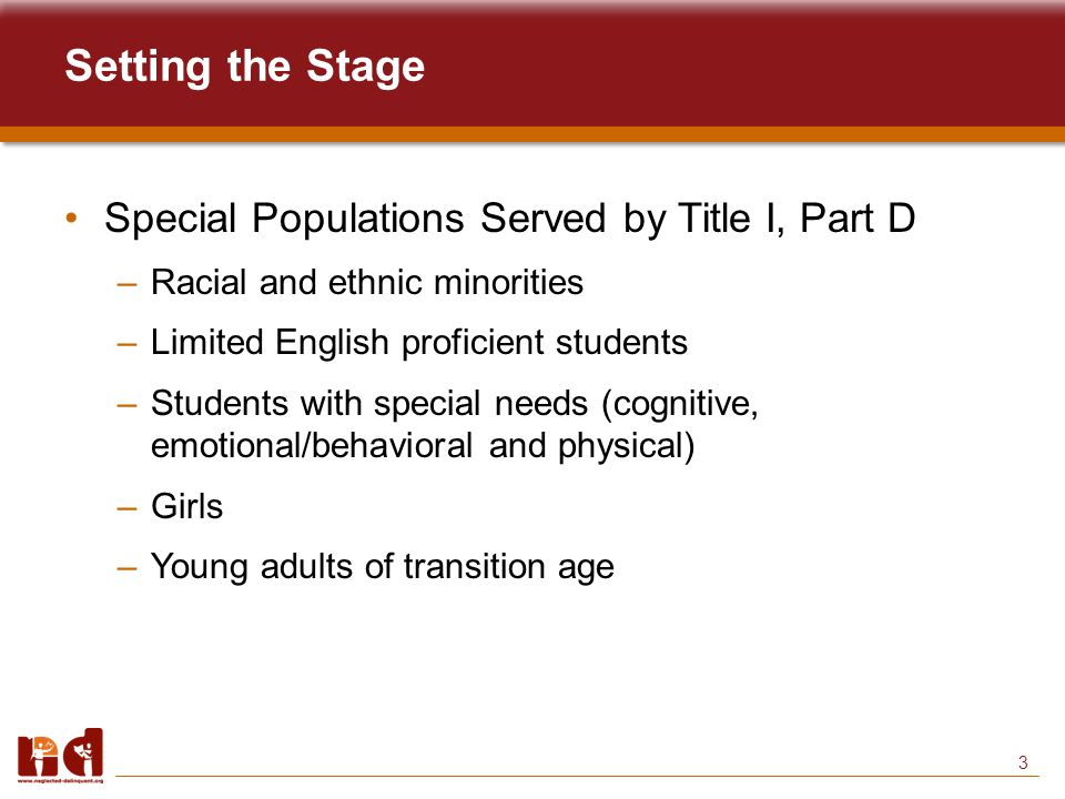 3 Setting the Stage Special Populations Served by Title I, Part D –Racial and ethnic minorities –Limited English proficient students –Students with special needs (cognitive, emotional/behavioral and physical) –Girls –Young adults of transition age