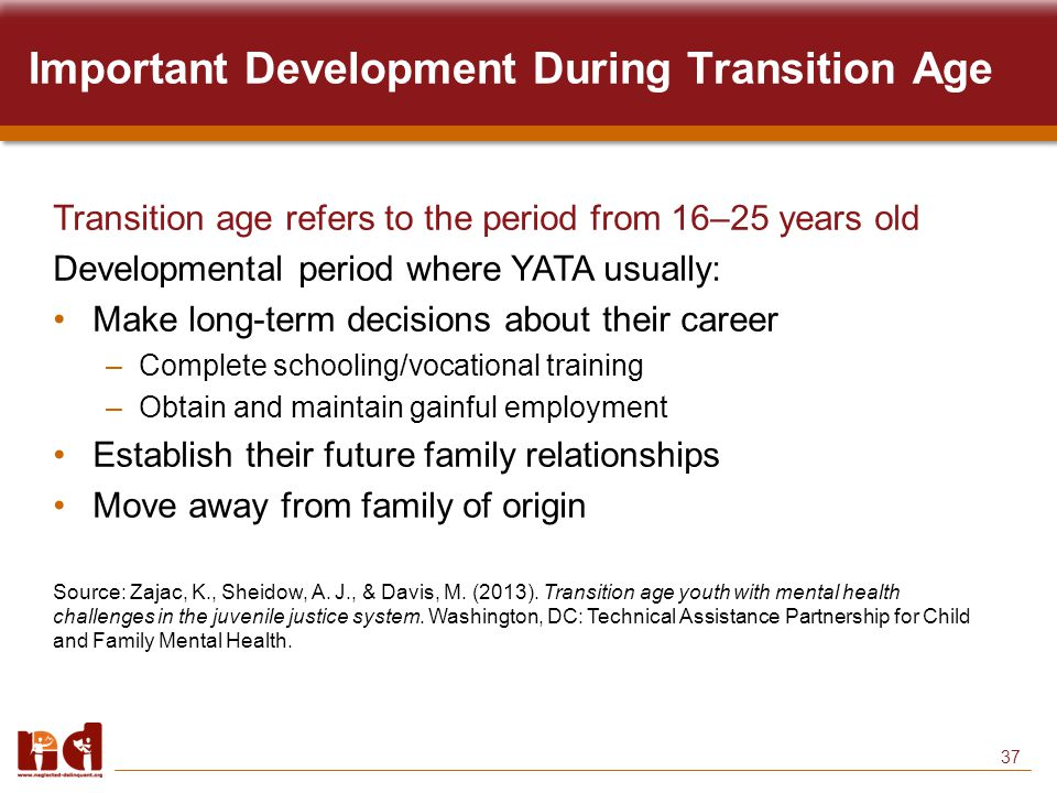 37 Important Development During Transition Age Transition age refers to the period from 16–25 years old Developmental period where YATA usually: Make long-term decisions about their career –Complete schooling/vocational training –Obtain and maintain gainful employment Establish their future family relationships Move away from family of origin Source: Zajac, K., Sheidow, A.