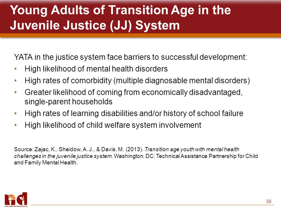 39 Young Adults of Transition Age in the Juvenile Justice (JJ) System YATA in the justice system face barriers to successful development: High likelihood of mental health disorders High rates of comorbidity (multiple diagnosable mental disorders) Greater likelihood of coming from economically disadvantaged, single-parent households High rates of learning disabilities and/or history of school failure High likelihood of child welfare system involvement Source: Zajac, K., Sheidow, A.