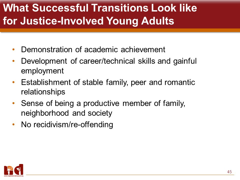 45 What Successful Transitions Look like for Justice-Involved Young Adults Demonstration of academic achievement Development of career/technical skills and gainful employment Establishment of stable family, peer and romantic relationships Sense of being a productive member of family, neighborhood and society No recidivism/re-offending
