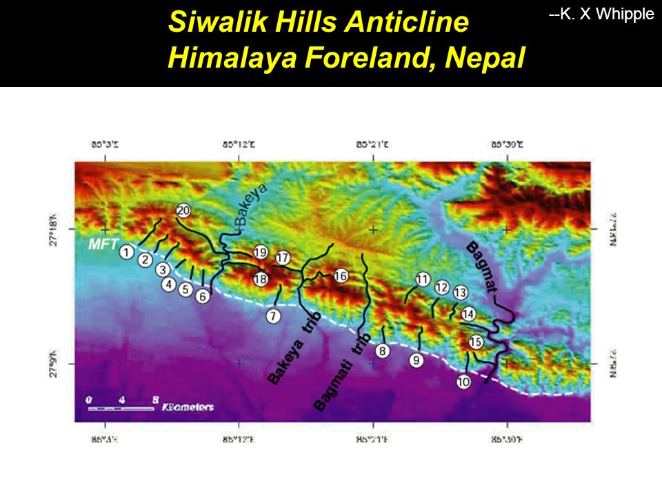 Siwalik Hills Anticline Himalaya Foreland, Nepal Strike-Parallel: Uniform Uplift Along Stream --K.
