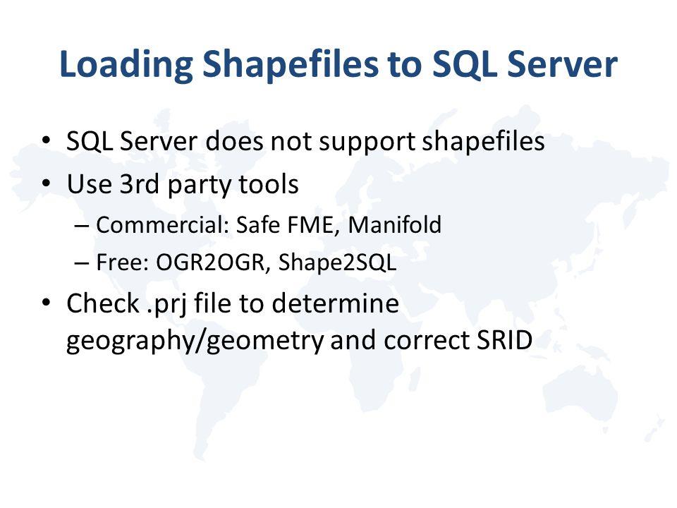 Loading Shapefiles to SQL Server SQL Server does not support shapefiles Use 3rd party tools – Commercial: Safe FME, Manifold – Free: OGR2OGR, Shape2SQ