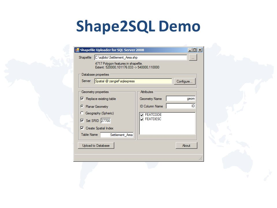 Shape2SQL Demo
