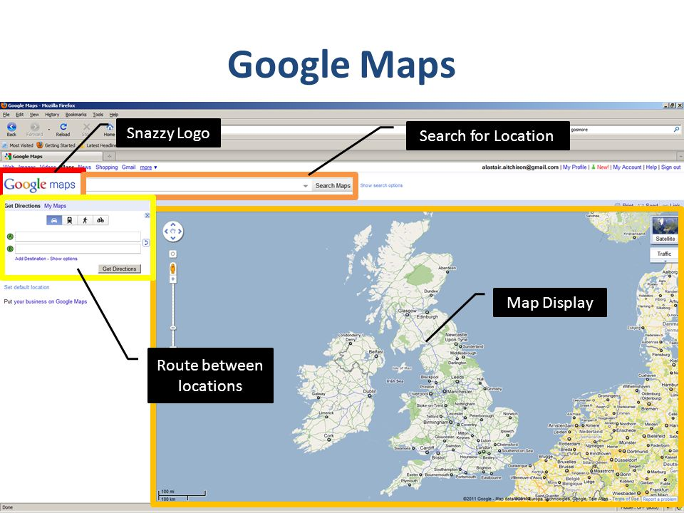Google Maps Snazzy Logo Search for Location Map Display Route between locations