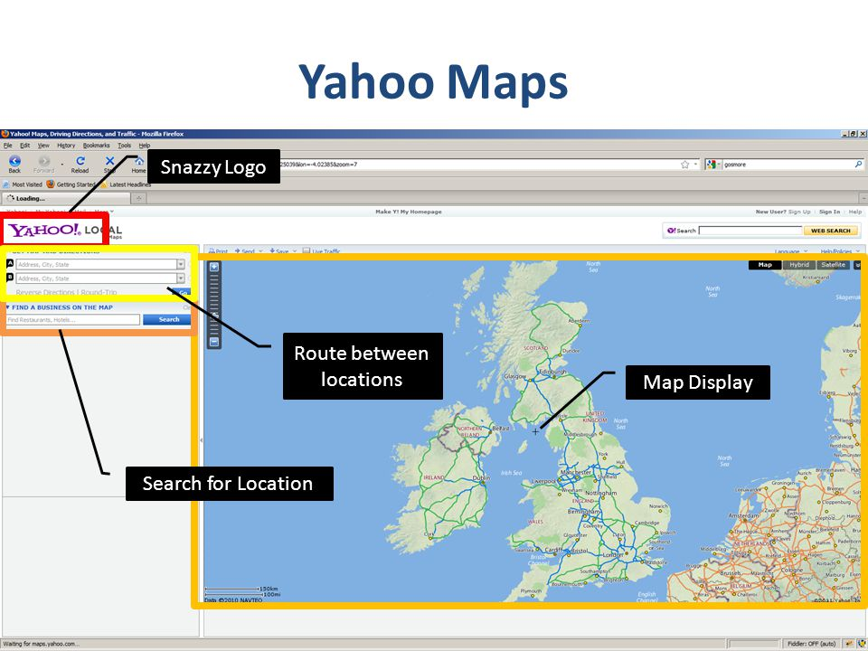 Yahoo Maps Snazzy Logo Search for Location Map Display Route between locations