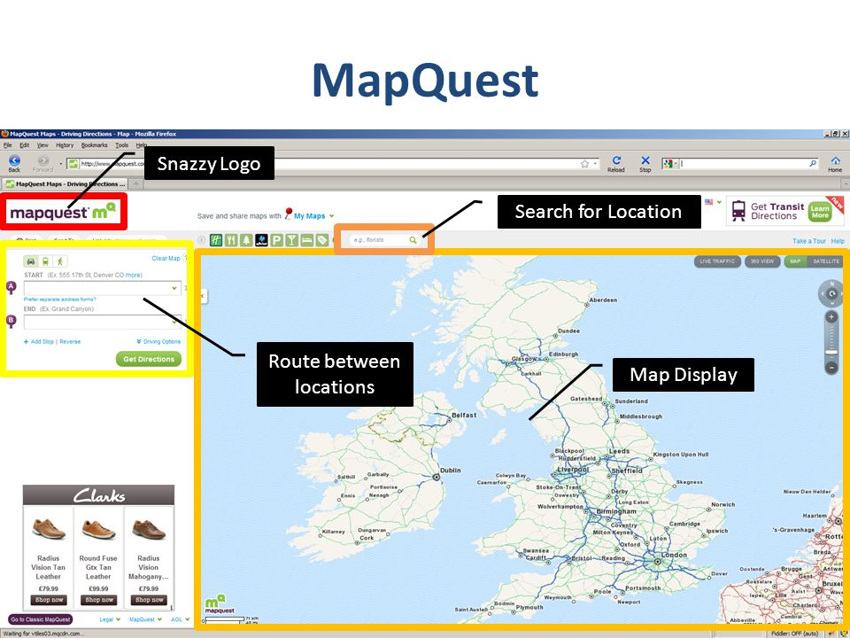 MapQuest Snazzy Logo Search for Location Map Display Route between locations