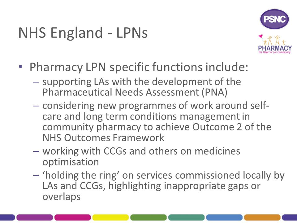 NHS England - LPNs Pharmacy LPN specific functions include: – supporting LAs with the development of the Pharmaceutical Needs Assessment (PNA) – consi