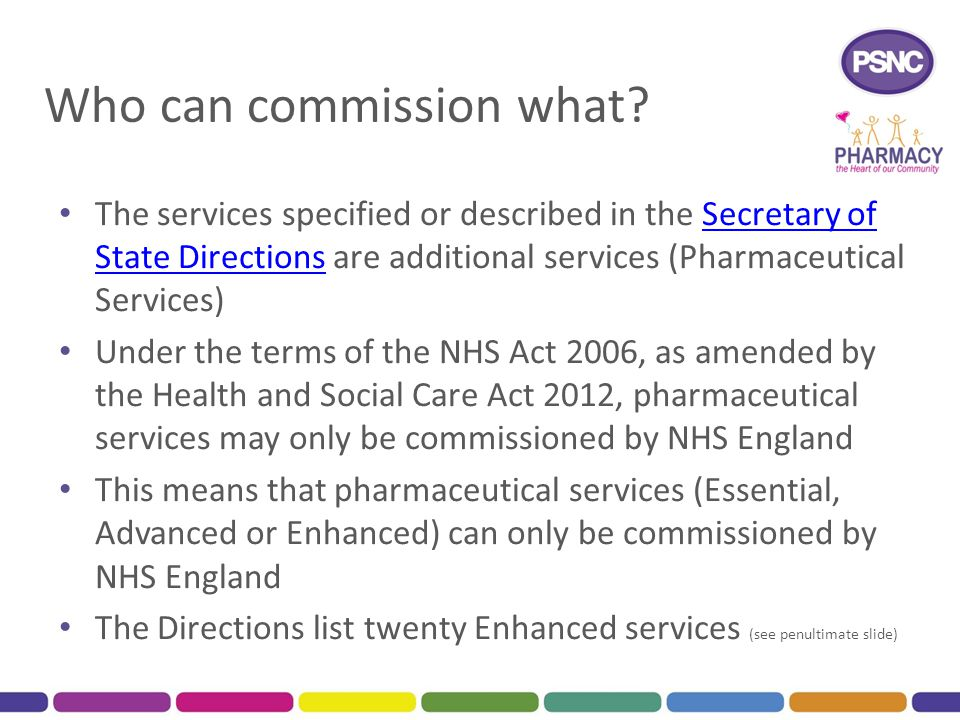 Who can commission what? The services specified or described in the Secretary of State Directions are additional services (Pharmaceutical Services)Sec