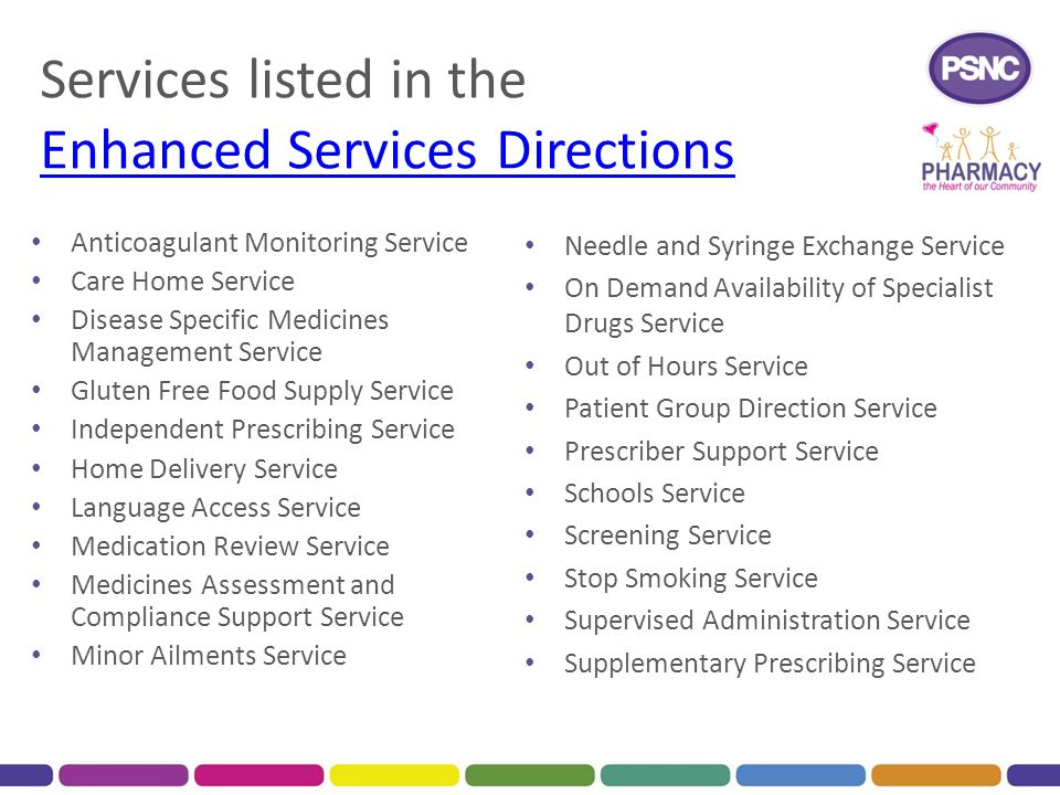 Services listed in the Enhanced Services Directions Enhanced Services Directions Anticoagulant Monitoring Service Care Home Service Disease Specific M