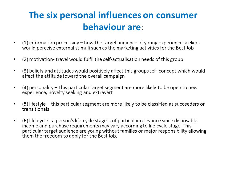 Three Social influences The three social influences on consumer behaviour are: culture, social class reference groups.