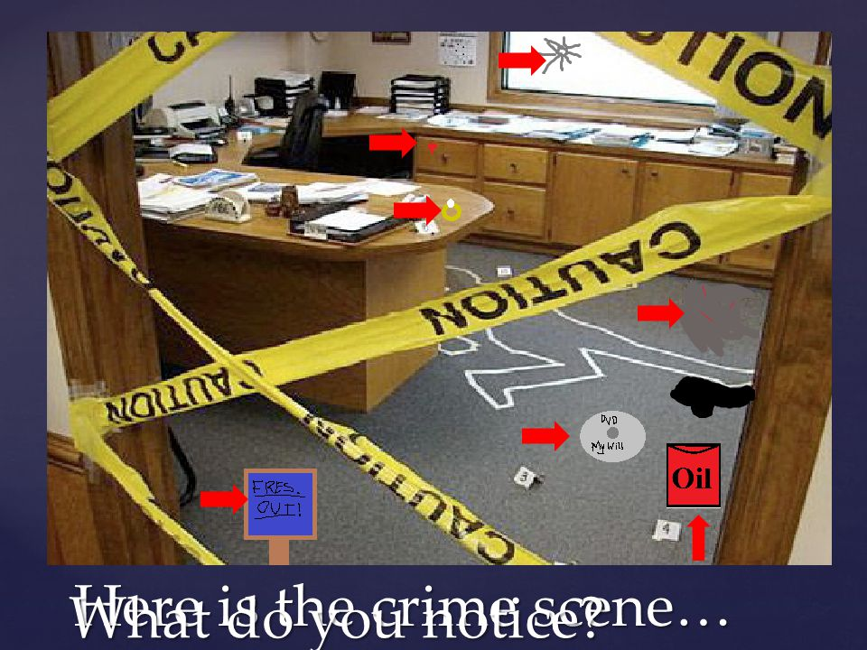 Here is the crime scene… What do you notice?
