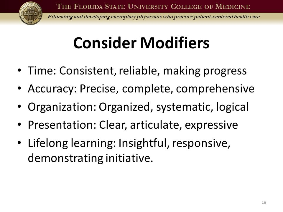 T HE F LORIDA S TATE U NIVERSITY C OLLEGE OF M EDICINE Educating and developing exemplary physicians who practice patient-centered health care Consider Modifiers Time: Consistent, reliable, making progress Accuracy: Precise, complete, comprehensive Organization: Organized, systematic, logical Presentation: Clear, articulate, expressive Lifelong learning: Insightful, responsive, demonstrating initiative.