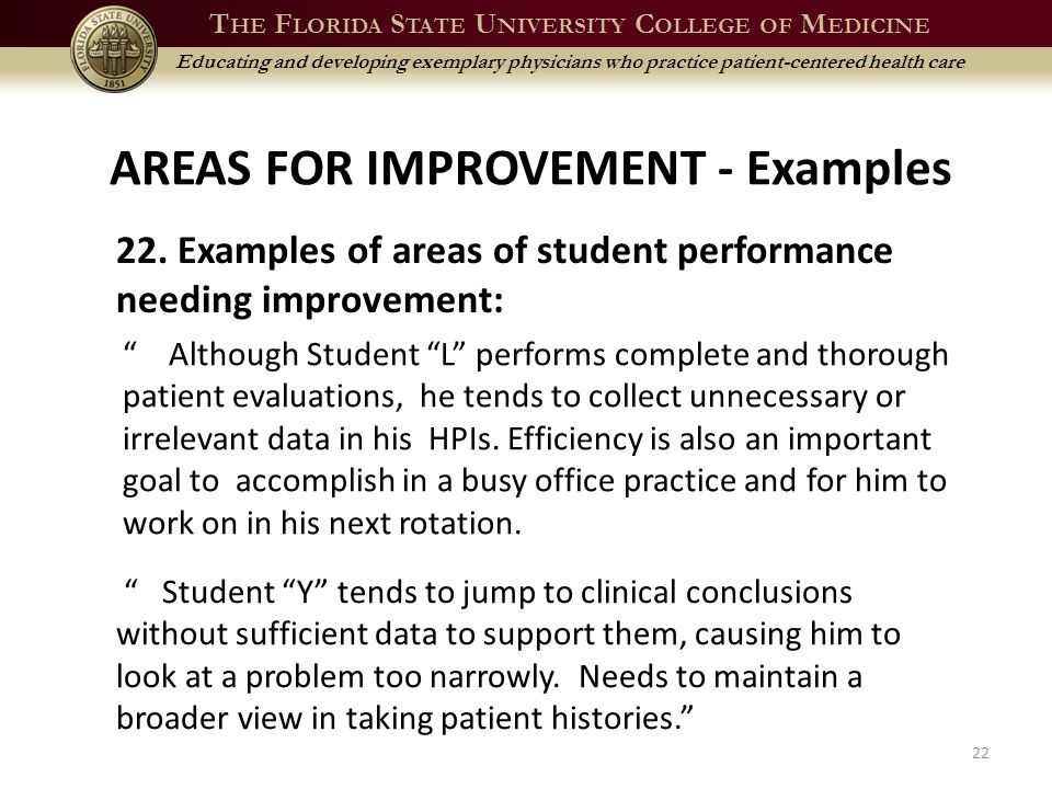 T HE F LORIDA S TATE U NIVERSITY C OLLEGE OF M EDICINE Educating and developing exemplary physicians who practice patient-centered health care AREAS FOR IMPROVEMENT - Examples 22 22.