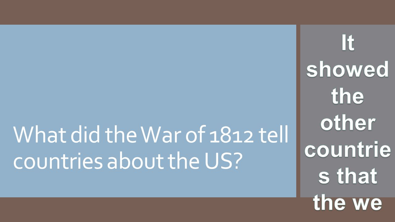 What did the War of 1812 tell countries about the US?
