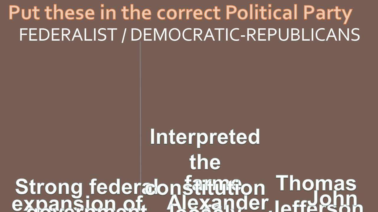 FEDERALIST / DEMOCRATIC-REPUBLICANS
