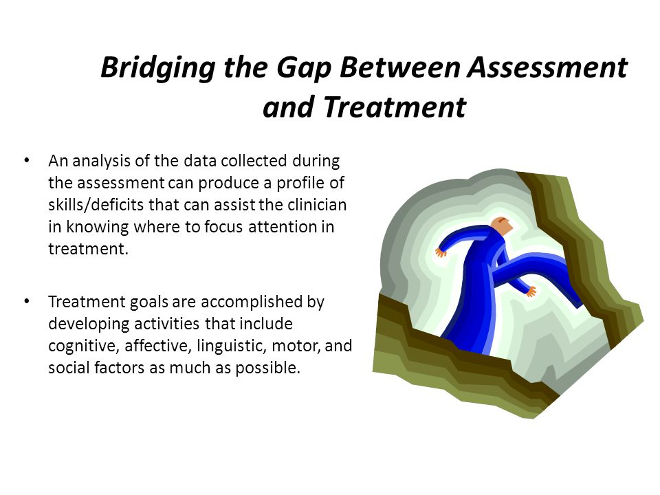Bridging the Gap Between Assessment and Treatment An analysis of the data collected during the assessment can produce a profile of skills/deficits tha
