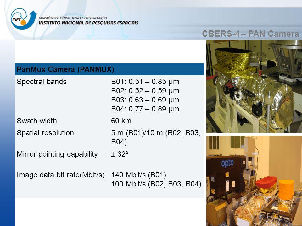 CBERS-4 – PAN Camera PanMux Camera (PANMUX) Spectral bandsB01: 0.51 – 0.85 µm B02: 0.52 – 0.59 µm B03: 0.63 – 0.69 µm B04: 0.77 – 0.89 µm Swath width6