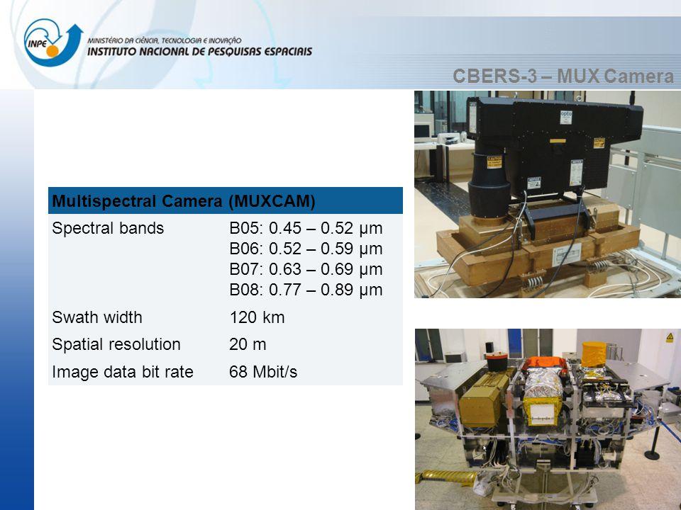 CBERS-3 – MUX Camera Multispectral Camera (MUXCAM) Spectral bandsB05: 0.45 – 0.52 µm B06: 0.52 – 0.59 µm B07: 0.63 – 0.69 µm B08: 0.77 – 0.89 µm Swath