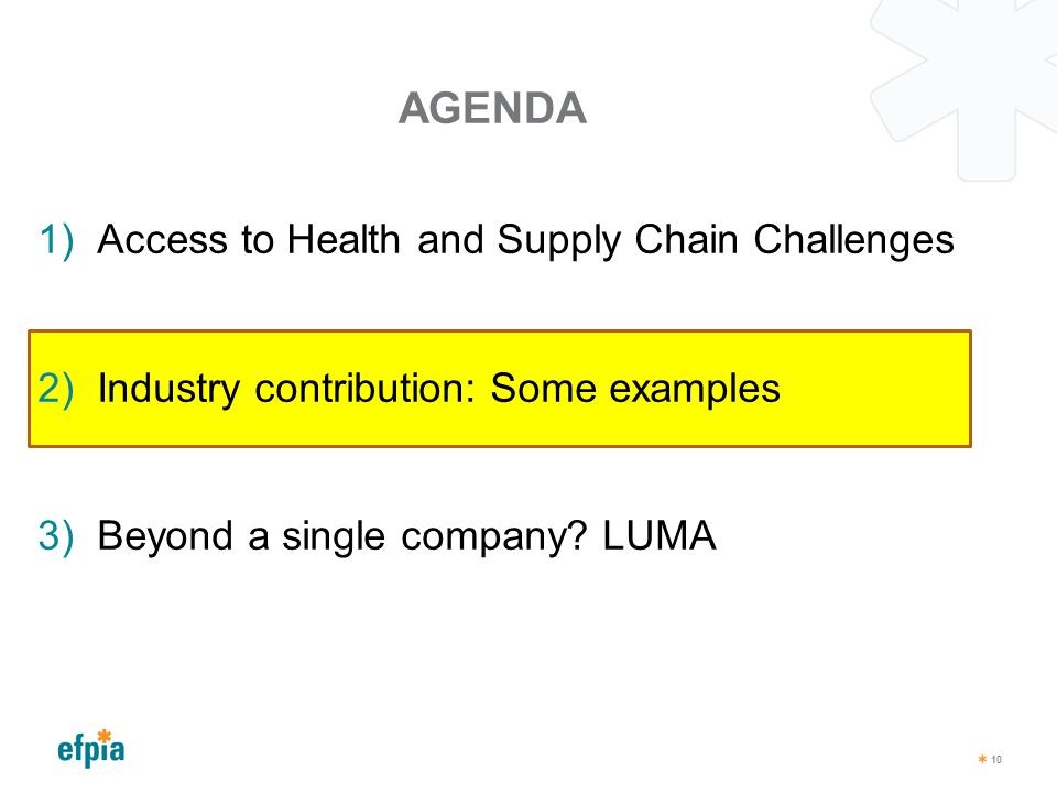 AGENDA 10 1)Access to Health and Supply Chain Challenges 2)Industry contribution: Some examples 3)Beyond a single company? LUMA