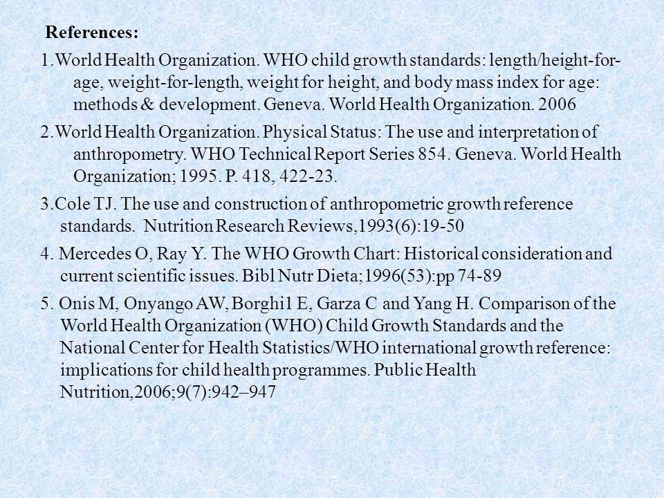 References: 1.World Health Organization.