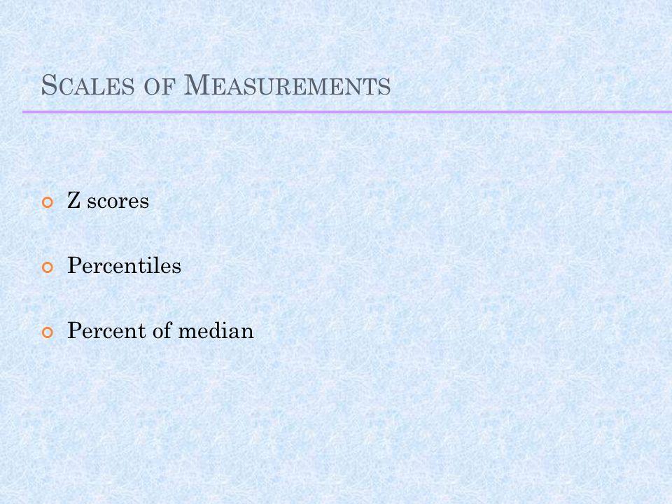 S CALES OF M EASUREMENTS Z scores Percentiles Percent of median