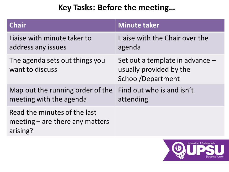 Key Tasks: Before the meeting… ChairMinute taker Liaise with minute taker to address any issues Liaise with the Chair over the agenda The agenda sets