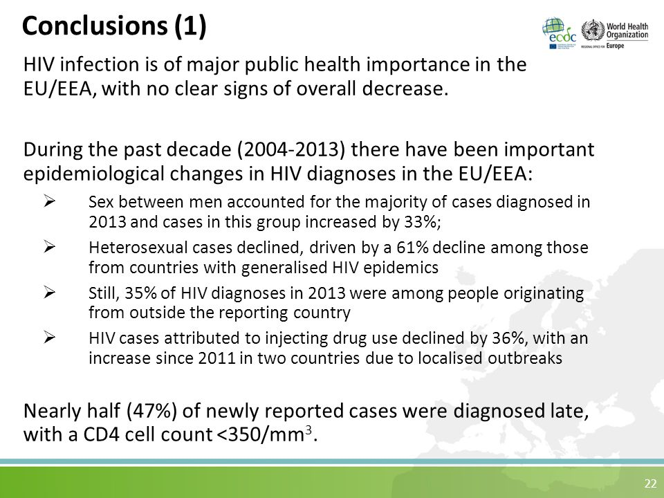 22 Conclusions (1) HIV infection is of major public health importance in the EU/EEA, with no clear signs of overall decrease.