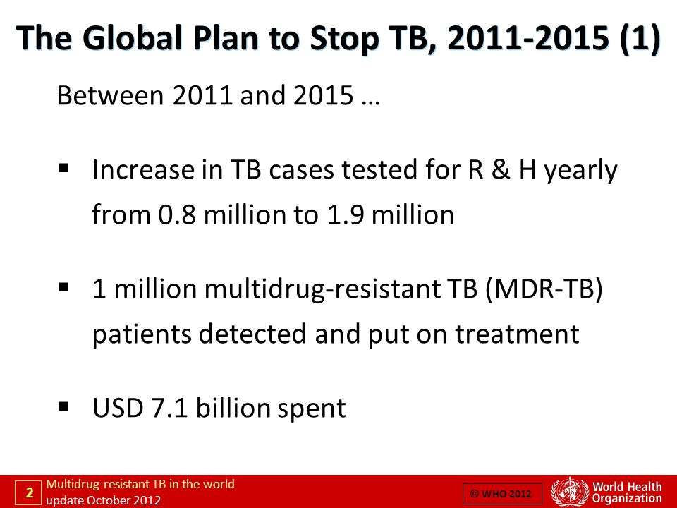 2 Multidrug-resistant TB in the world update October 2012  WHO 2012 Between 2011 and 2015 …  Increase in TB cases tested for R & H yearly from 0.8 million to 1.9 million  1 million multidrug-resistant TB (MDR-TB) patients detected and put on treatment  USD 7.1 billion spent The Global Plan to Stop TB, 2011-2015 (1)