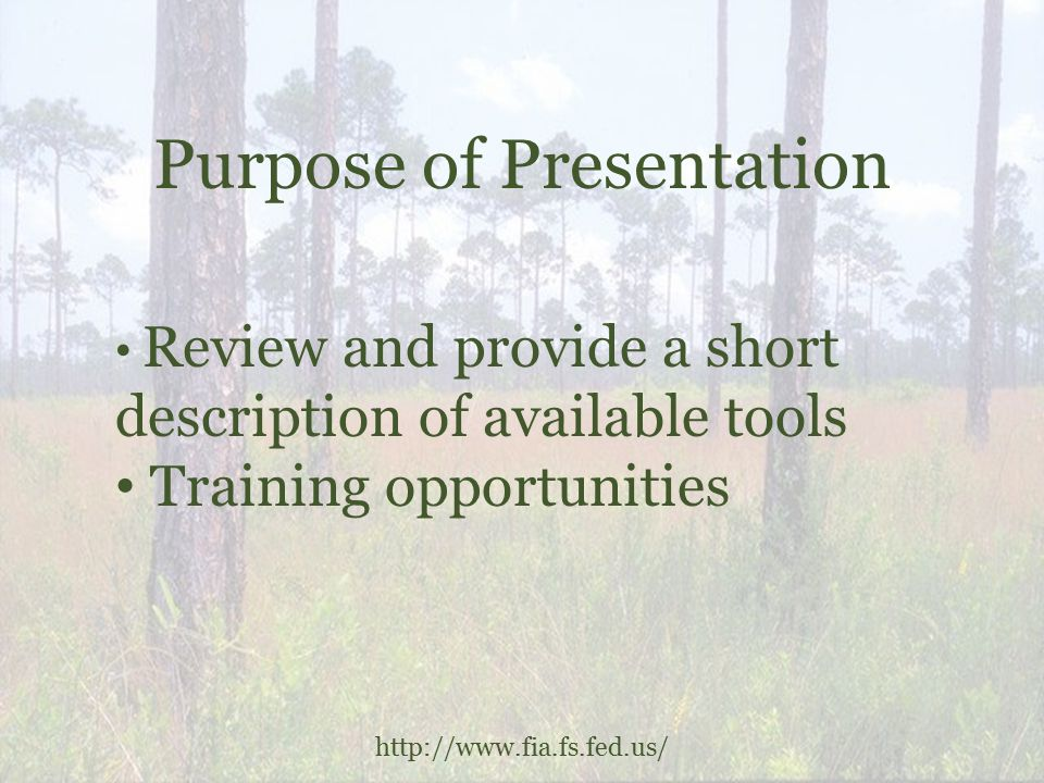 Purpose of Presentation http://www.fia.fs.fed.us/ Review and provide a short description of available tools Training opportunities