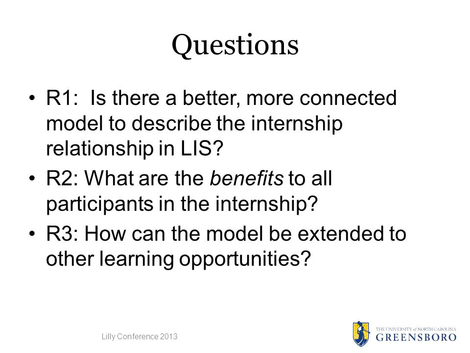 Questions R1: Is there a better, more connected model to describe the internship relationship in LIS.