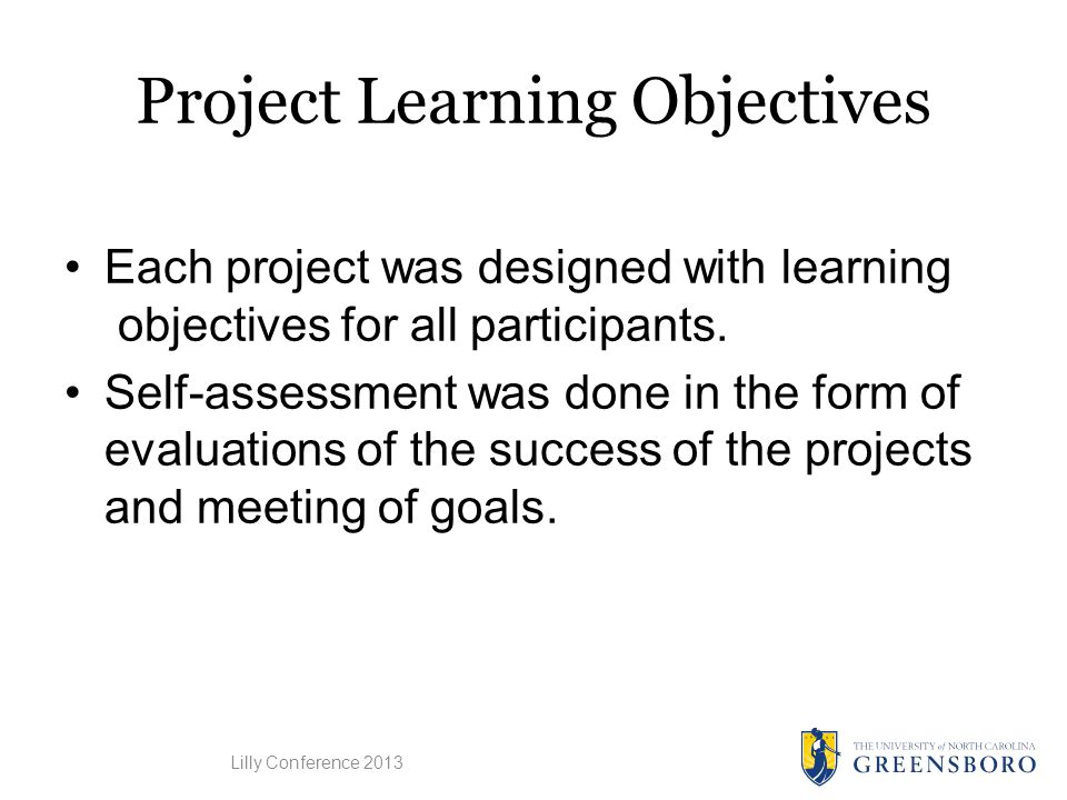 Project Learning Objectives Each project was designed with learning objectives for all participants.