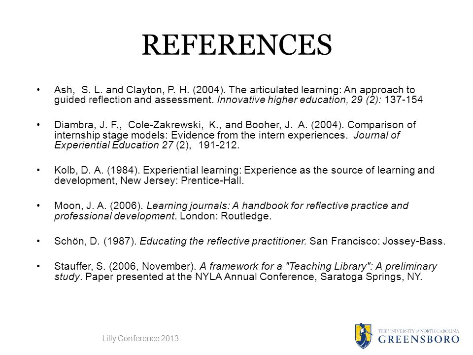 REFERENCES Ash, S. L. and Clayton, P. H. (2004).