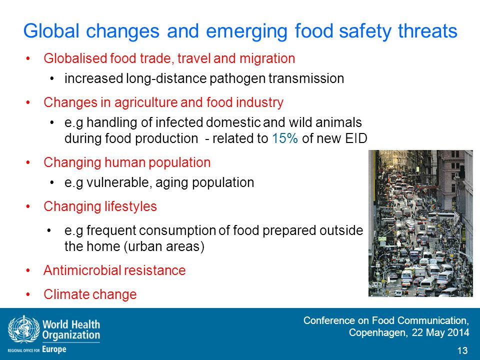 Conference on Food Communication, Copenhagen, 22 May 2014 Prevention and control of foodborne diseases Whole-food chain approach Inter-sectoral and inter-disciplinary collaboration International collaboration Good surveillance systems Information-sharing Food safety risk communication 14