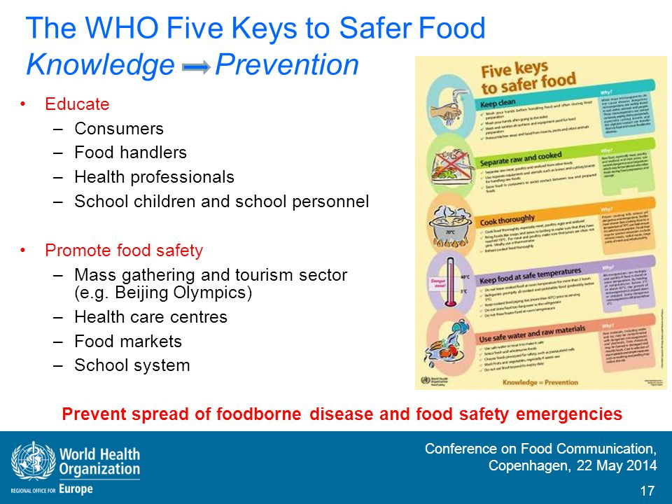 Conference on Food Communication, Copenhagen, 22 May 2014 Developing countries – countries in transition; Lack of awareness That food can make sick if not properly handled, prepared and stored That keep clean is essential Key No.