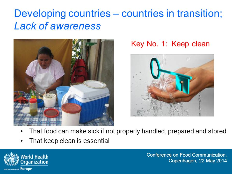 Conference on Food Communication, Copenhagen, 22 May 2014 Developed countries; Lack of understanding More aware, but tend to take food safety as granted Confusion Key No.