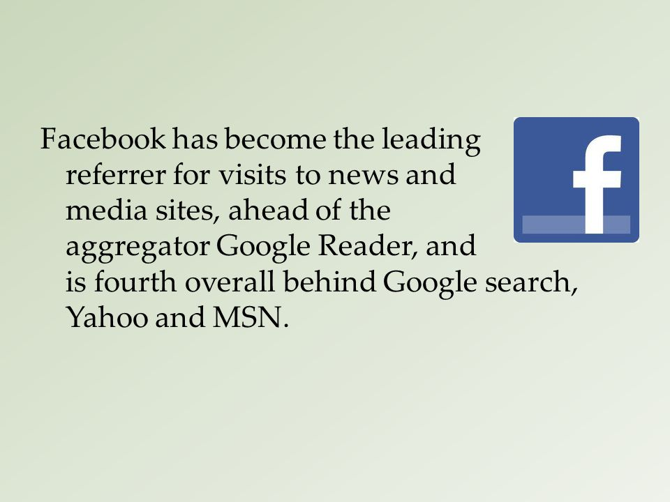 Facebook has become the leading referrer for visits to news and media sites, ahead of the aggregator Google Reader, and is fourth overall behind Google search, Yahoo and MSN.